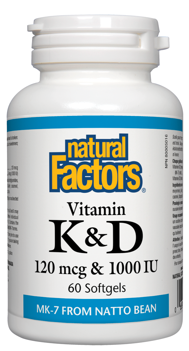NATURAL FACTORS VITAMIN K2+ VITAMIN D 60 SOFTGELS