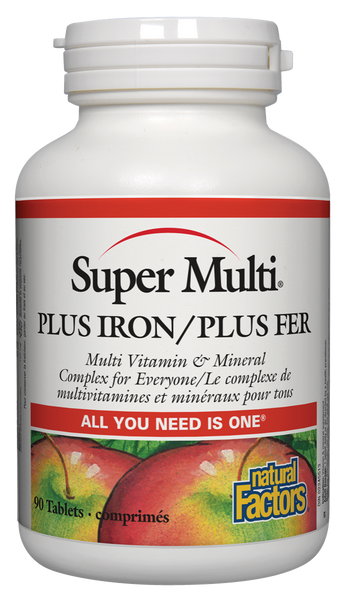 NATURAL FACTORS SUPER MULTI PLUS IRON 90CAPS