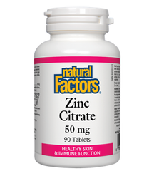 NATURAL FACTORS ZINC CITRATE 50MG 90TABLETS