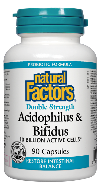 Natural Factors Double Strength Acidophilus & Bifidus 90 Capsules