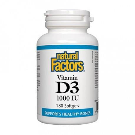 NATURAL FACTORS VITAMIN D3 1000IU 180 SOFTGELS