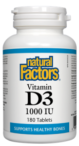 NATURAL FACTORS VITAMIN D3 1000IU 180 TABLETS