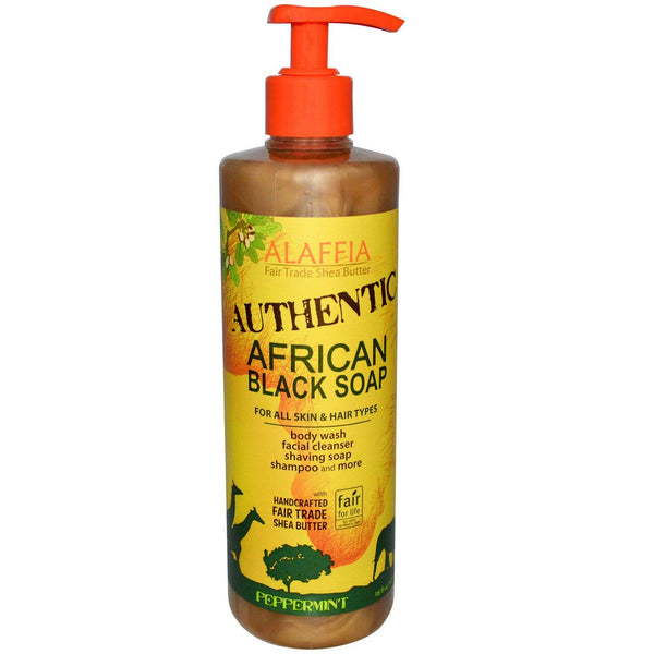 Alaffia Authentic African Black Soap Peppermint 476ml