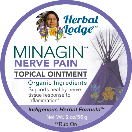 Herbal Lodge Minagin Nerve Natural Pain Relief Topical Salve Ointment 2OZ