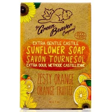 Green Beaver Castile Sunflower Bar Soap, Extra Gentle  Zesty Orange 90G