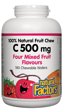 Natural Factors C 500 mg 100% Natural Fruit Chew Four Mixed Fruit Flavours