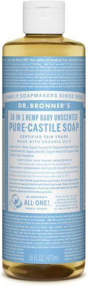 Dr. Bronner Pure-Castile Liquid Soap Baby Unscented 473ml