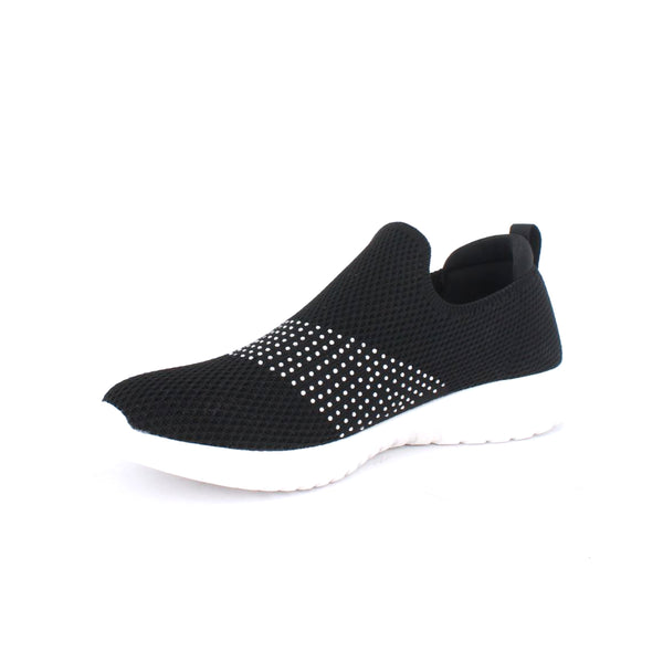 Women's  Slip On Knit  Sport shoe with Rhinestones