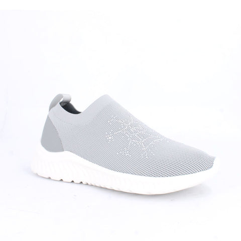 Women's Knit Rhinestone Slip On  Sport Shoes