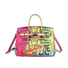 Load image into Gallery viewer, GRAFFITI TOTE LOCK HAND BAG
