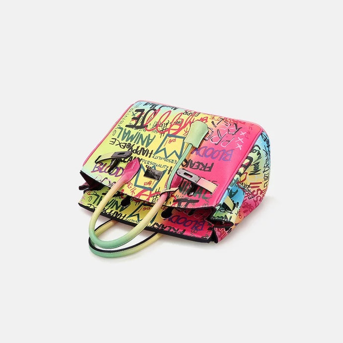 GRAFFITI TOTE LOCK HAND BAG