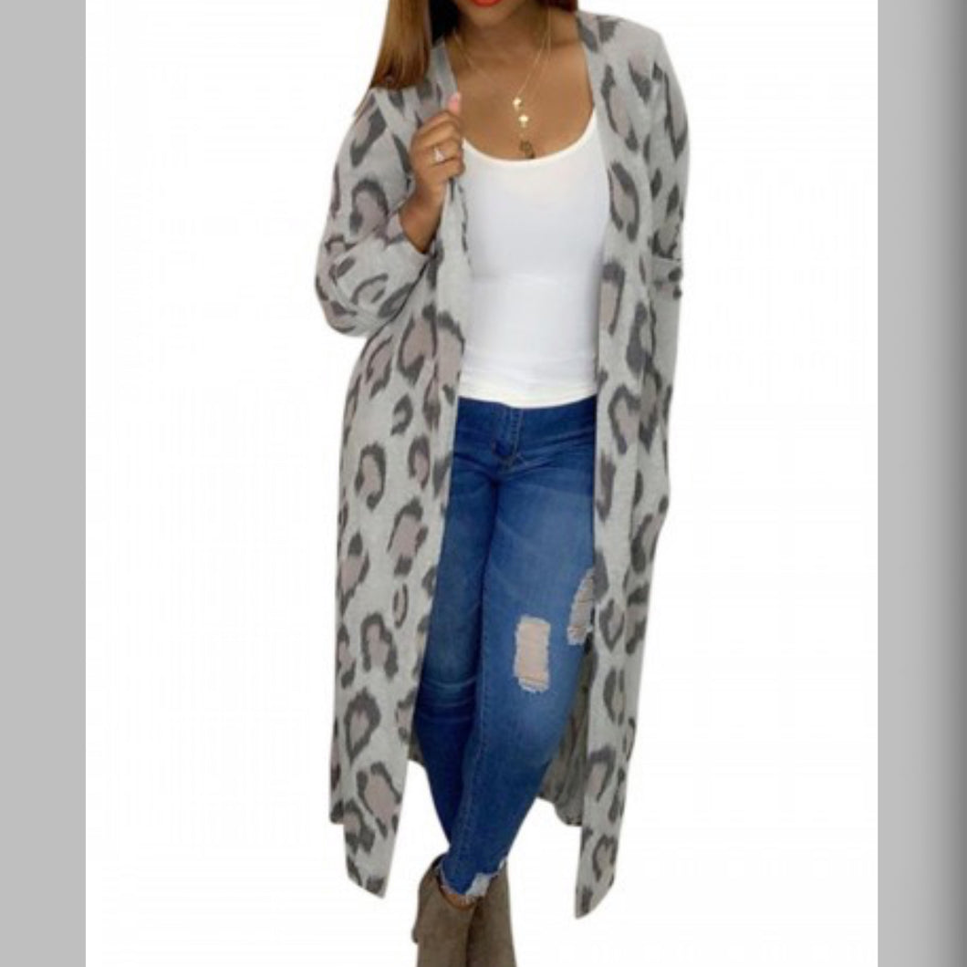 Leopard Print with Pockets Cardi
