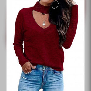 Wine Red Choker Neck Sweater