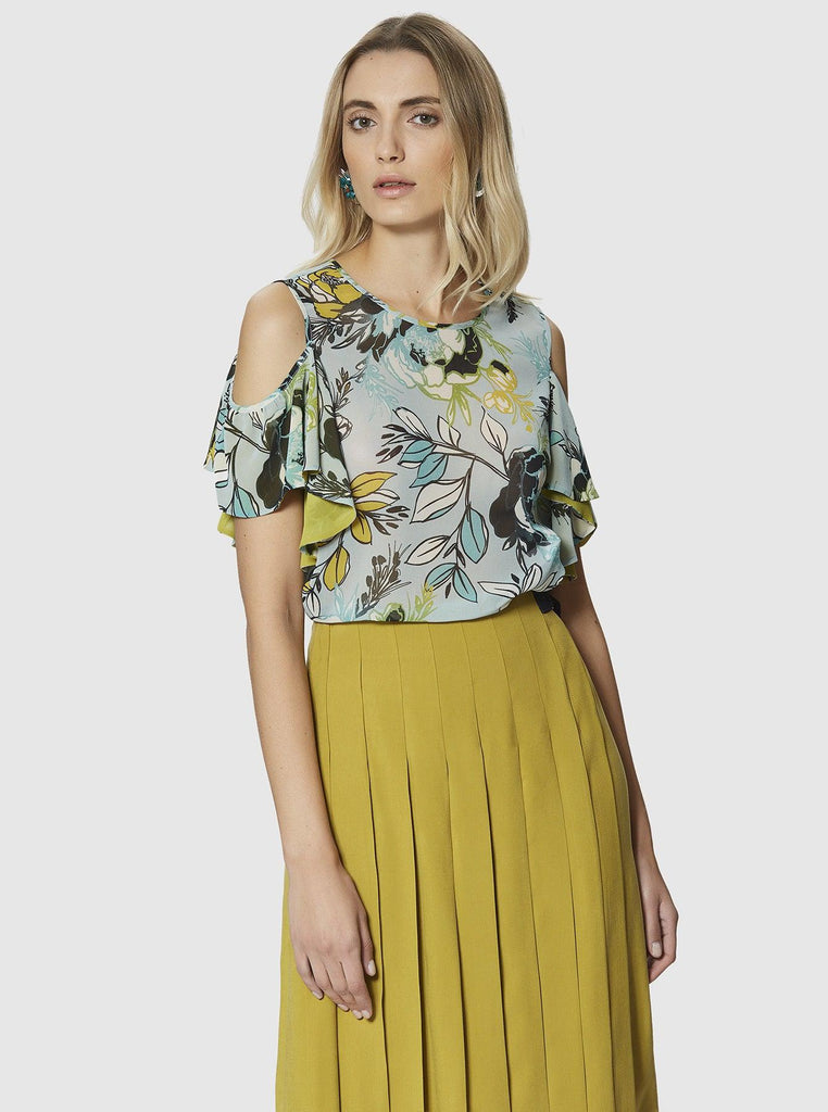 DROPPED SHOULDER FLORAL BLOUSE