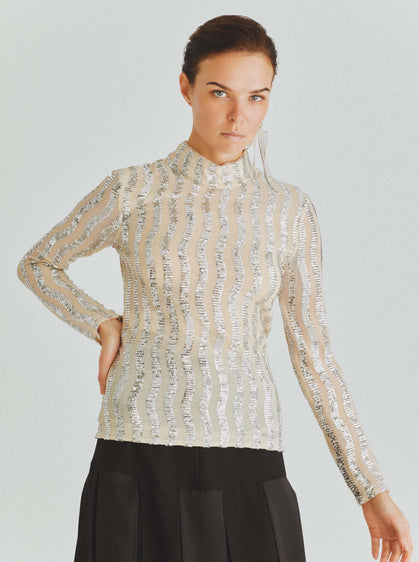 Silver Sequin Mockneck Top