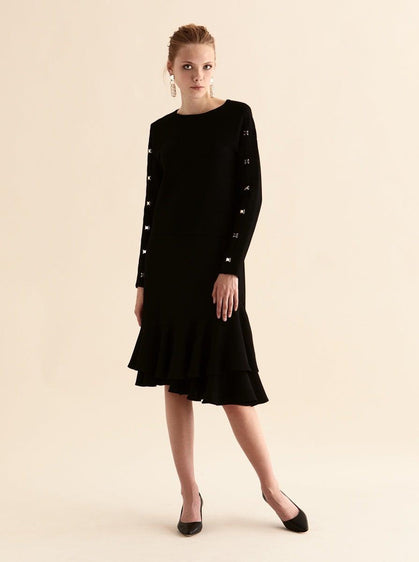ROMAN USA-Studded Sleeve Ribbed Scoop Neck-- [BLACK]