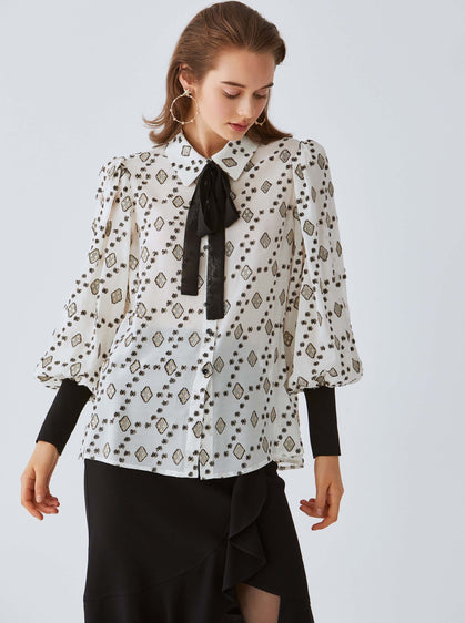 Kaleidoscope Black & White Blouse