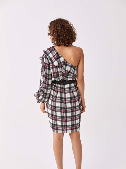 Navy & Red Tartan Cocktail Dress