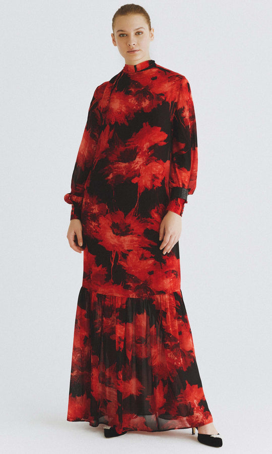 Flounce Trim Mockneck Maxi Dress