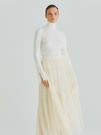 ROMAN USA-Classic Drop-Hem Tea Skirt-- [BONE]