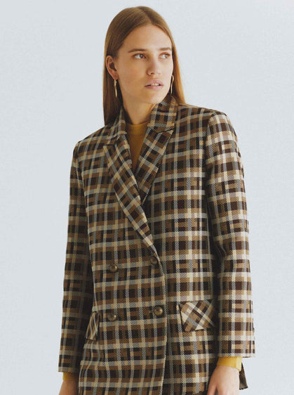 Wide-Checked Peacoat