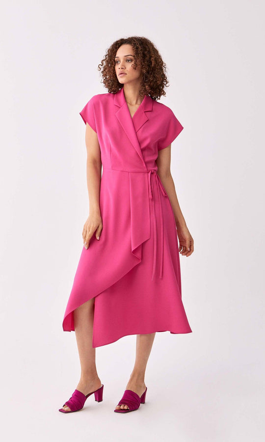 Notched Cap-Sleeve Midi Wrap Dress
