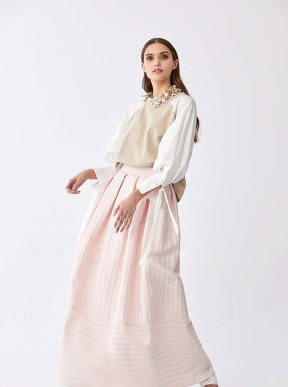 Cotton Pinstripe Maxi Skirt