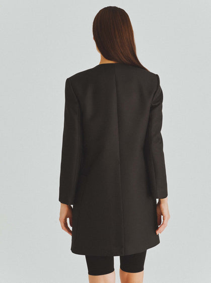 Classic Black Single Breasted Coat