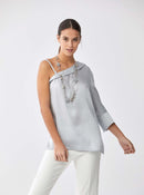 Asymmetric Ice Blue Blouse