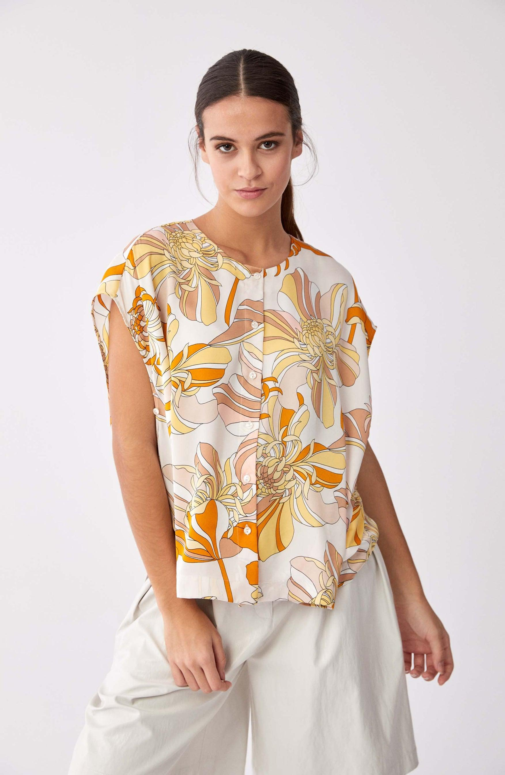 ROMAN USA-Sunset Palet Floral Blouse-- [ORIGINAL]