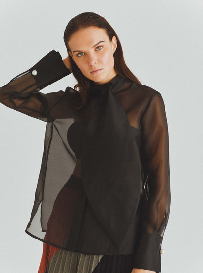 Sheer Gauntlet Cuff Blouse