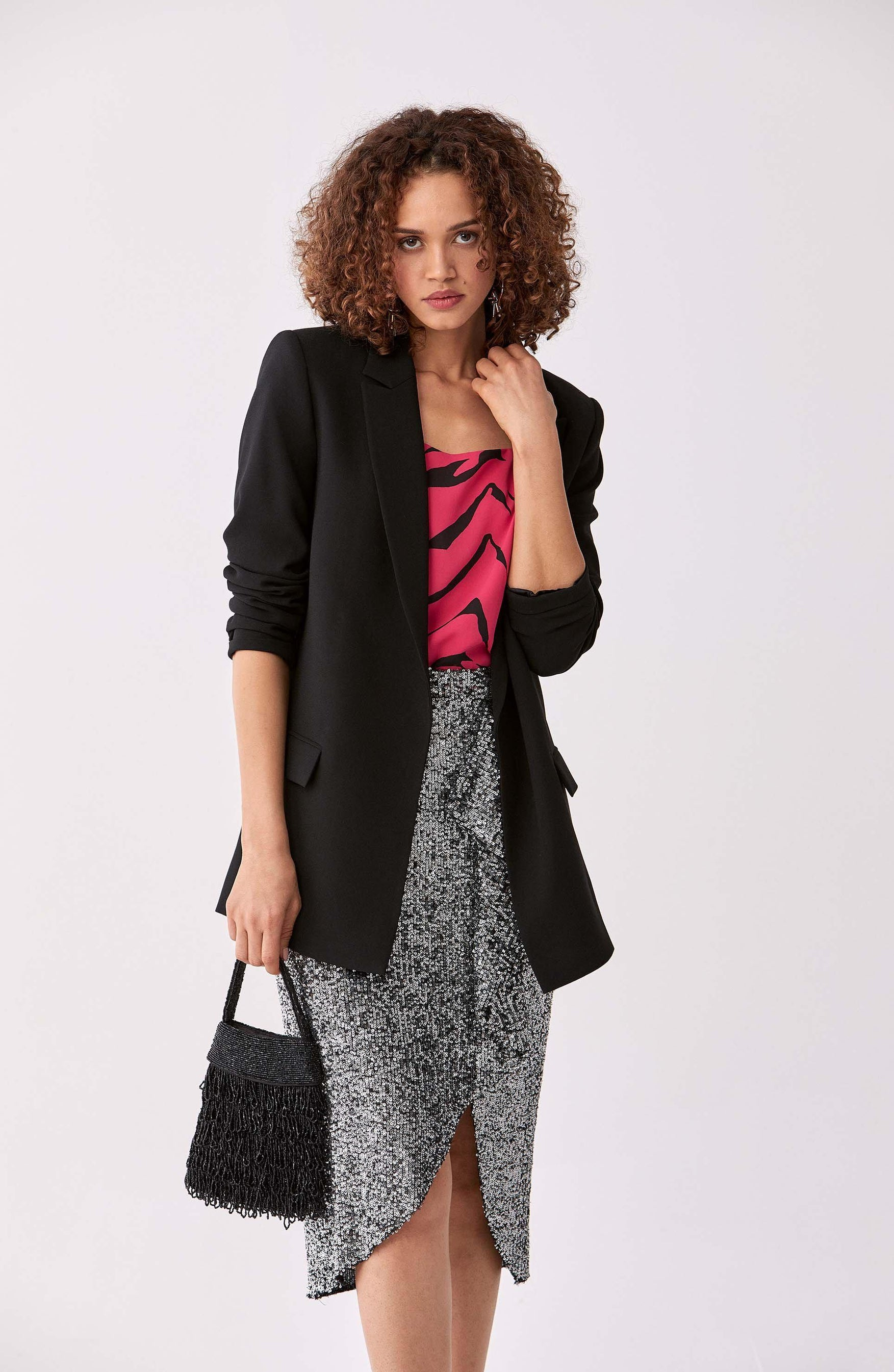 ROMAN USA-Notched Longline Blazer-- [BLACK]