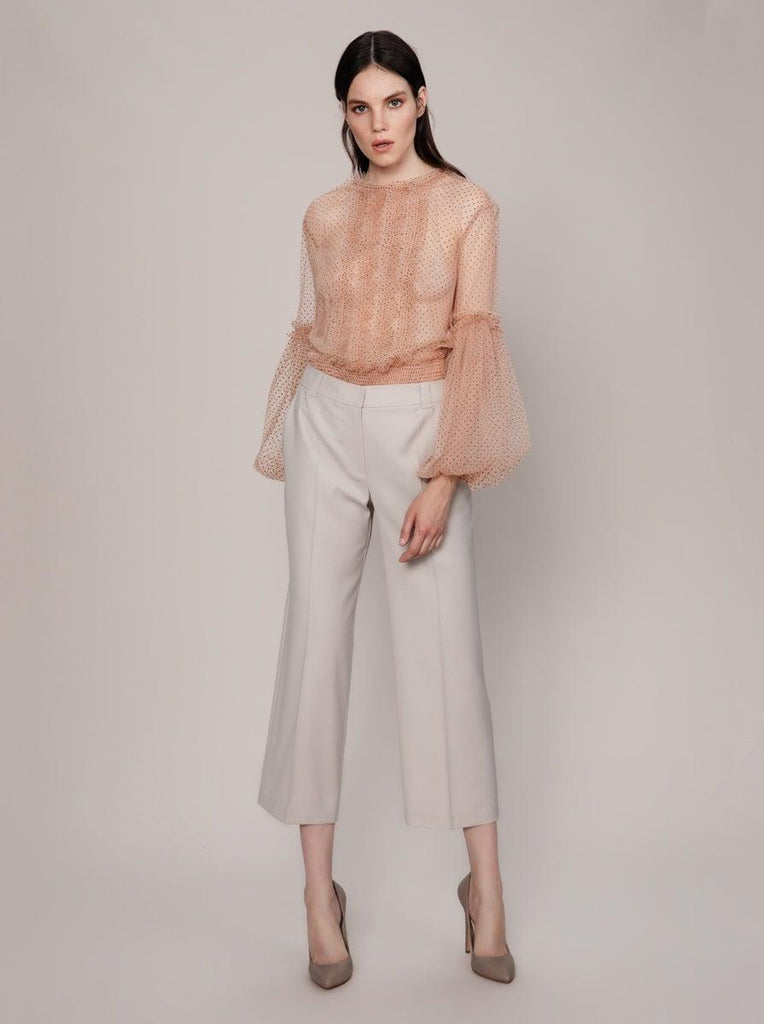 WOOL BLENDED FABRIC BEIGE PANTS
