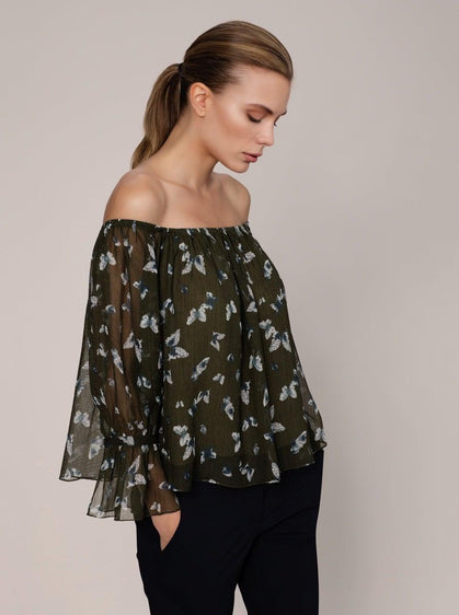 ROMAN USA-Olive Butterfly Shift Top-- [ORIGINAL]