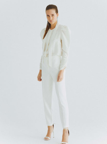 White Tapered Front-Pleat Pant