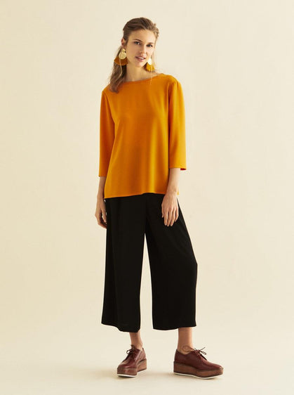 ROMAN USA-3/4 Sleeve Bateau Top-- [BRICK]