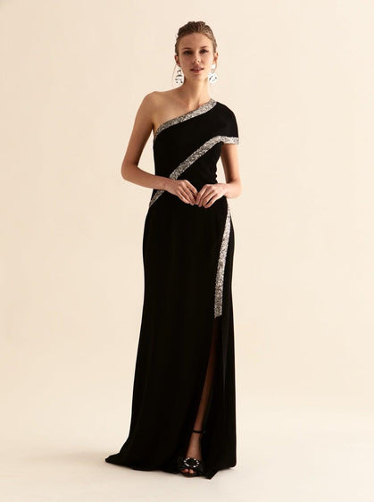 ROMAN USA-Asymmetric Gold Trim Gown-- [BLACK]