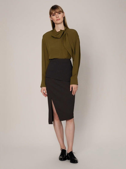 ROMAN USA-High-Waist Layered Pencil Skirt-- [ANTHRACITE]