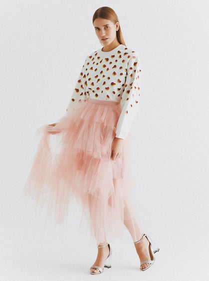 Ruffle Layered Pink Tulle Skirt