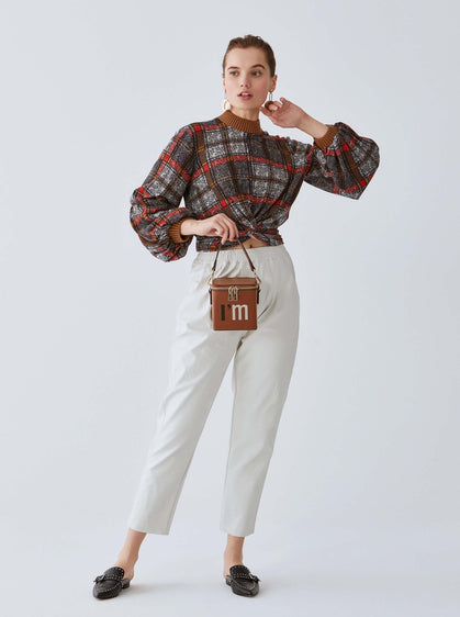 Plaid Mockneck Top