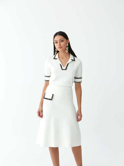 ROMAN USA- [WHITE] Pocket Detail Skirt-- [ORIGINAL]