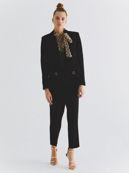 ROMAN USA-Cropped Straight Cut Blazer-- [BLACK]