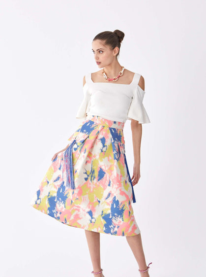 ROMAN USA-Watercolor Pocket Detail Skirt-- [ORIGINAL]