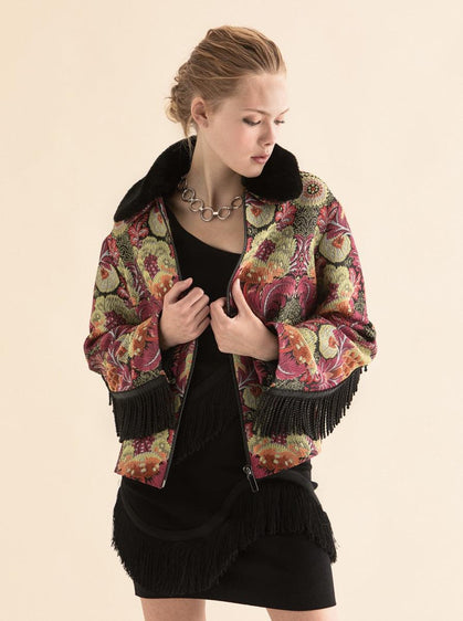 ROMAN USA-Fringe Trimed Floral Jacket-- [ORIGINAL]