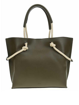 OLIVE LEATHER TOTE