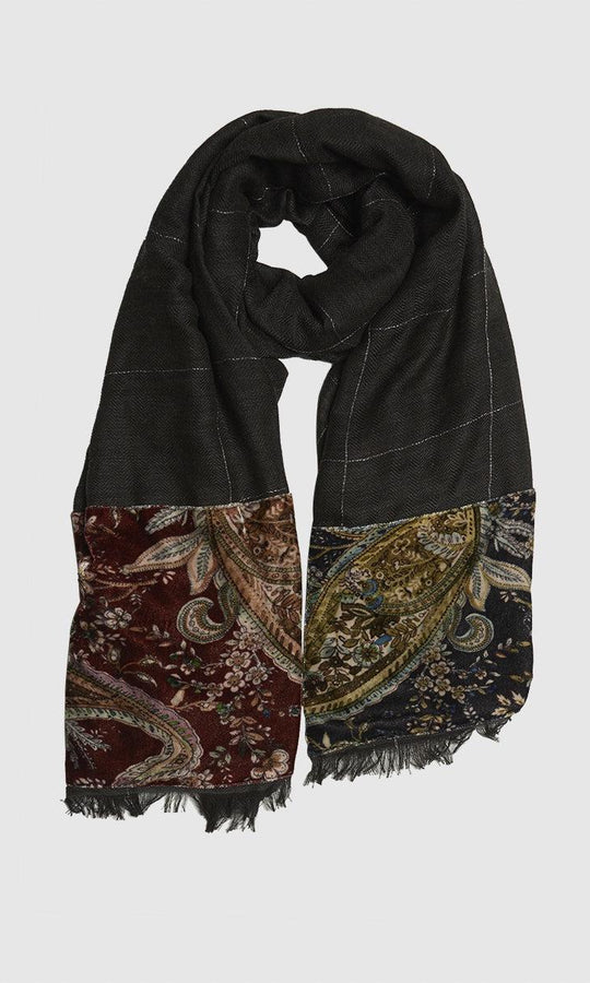 WIDE CHECK PAISLEY SCARF