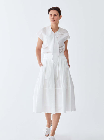 ROMAN USA- [WHITE] Cotton Tea Skirt-- [WHITE]