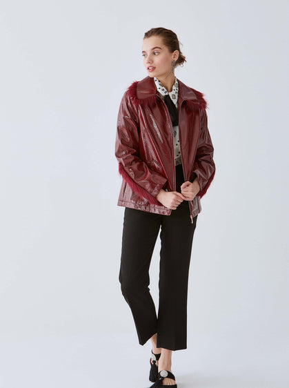 ROMAN USA-Fur Trim Patent Leather Jacket-- [MAROON]