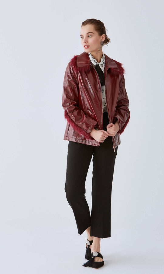 Texture Panel Leather Jacket