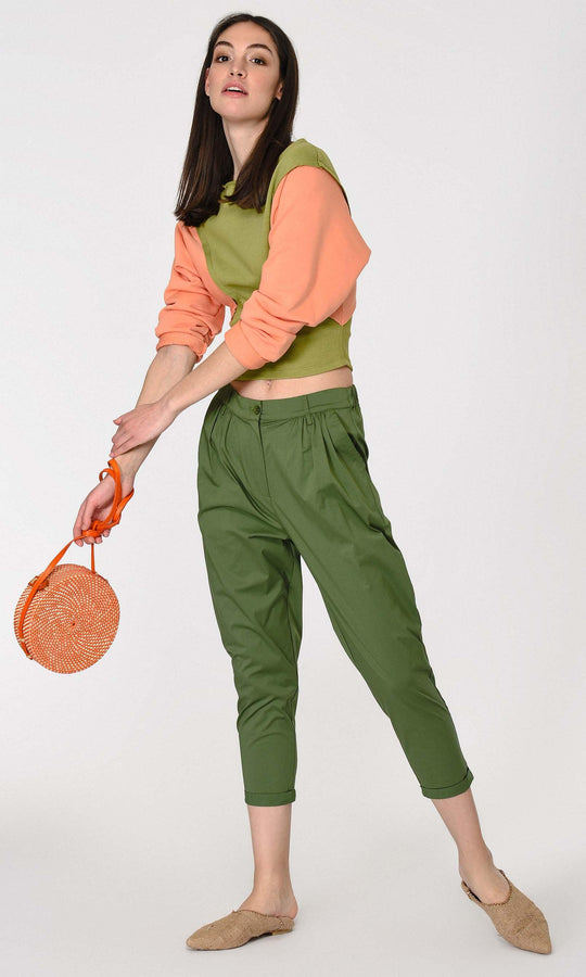 Boxy Green Cropped Pant